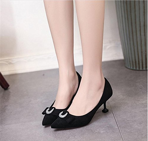 KHSKX-Black Sweet Butterfly Wedding Shoes In The Fall The New Tip Satin Light Saliva Drill Fine With The High-Heel Shoes Women'S Singles 36 jfPq0oVF0P