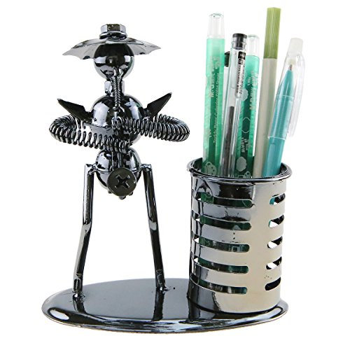 Music Musician Theme Iron Hat Man Art Steel Metal Creative Personality Pen Container Holder Pencil Cup Pot Office Students Desktop Music Decoration Decor Toy Gift Ornaments (A2008 Saxophone) - Top Student Desk