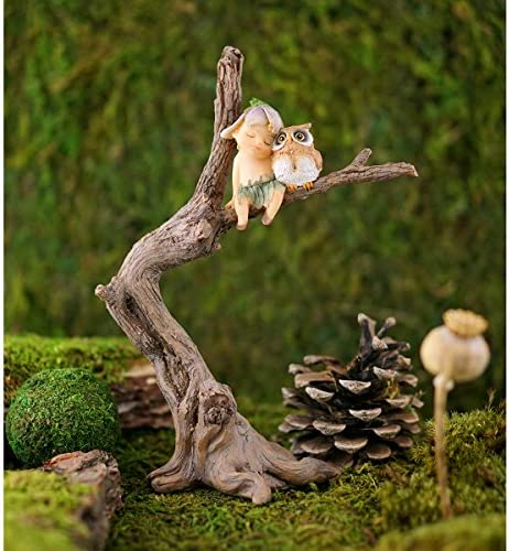 Top Collection Miniature Fairy Garden and Terrarium Sprite with Owl Figurine