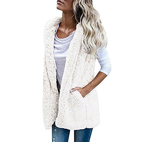 (JESPER Womens Puffer Vest Winter Warm Plush Hoodie Outwear Casual Coat Faux Fur Zip Up Sherpa White)