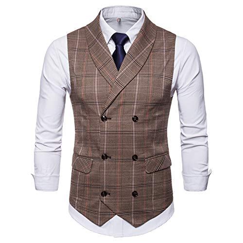 Mens Slim Fit Dress Vest Formal Turn Down Collar Premium Button Down Vest Mens Vest Waistcoat Coffee ()