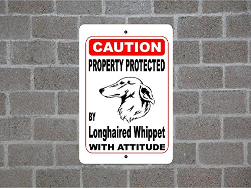 Teisyouhu Metal Street Sign Property Protected By Longhaired Whippet Guard Dog Warning Breed Pet Sign for Yard Garage Driveway House Fence 8 x 12 -