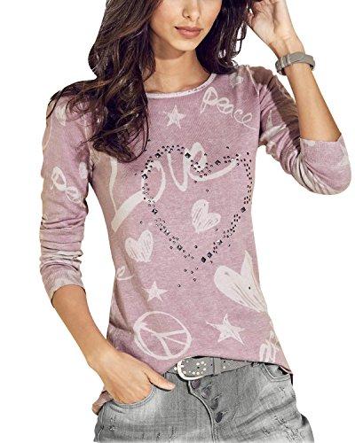 Strass Maglie Lunga Cuore a O di Minetom Stampa Camicia Base Donna Autunno Manica Rosa Bluse Inverno Collo qz1zgwFUt