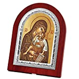 FengMicon Mother Mary and Child Jesus Wooden Back with Metal Trim Frame Christian Icon Catholic Gift