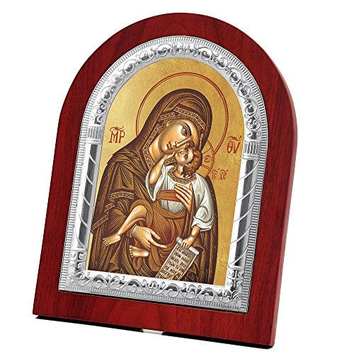 FengMicon Mother Mary and Child Jesus Wooden Back with Metal Trim Frame Christian Icon Catholic Gift by FENGMICON
