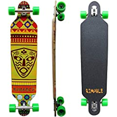 Rimable 41INCH Drop-Through Longboard  Deck Shape:Freerider Deck.  Deck Layers:9Ply  Truck:Drop Through 7Inch AluminiuM Truck.  Wheel:70x51mm 85A Hardness PU Wheels  Bearing:Rimable use the High-speed lubricant BearingThis Drop-Through Long b...