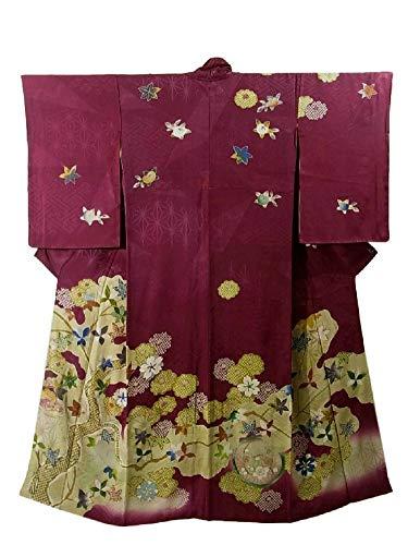 個人的にを除く有毒なアンティーク 着物  木と花模様 裄62cm 身丈153cm 正絹  袷