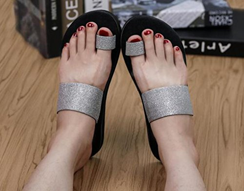 Sentao Mujer Lentejuelas Zapatos de Comodidad Piso Sandalia Clip Toe Sandalias Argento