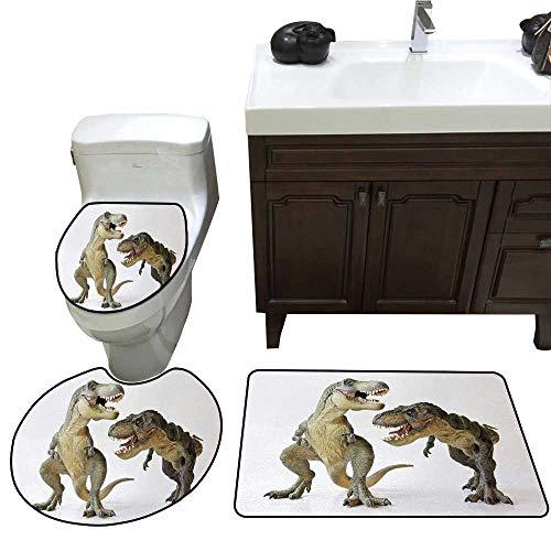 John Taylor Dinosaur Bath Rug Set Piece Tyrannosaurus Rex Pair Facing Off Ferocious Creatures Prehistoric Predators Toilet mat Set Ivory Brown Grey