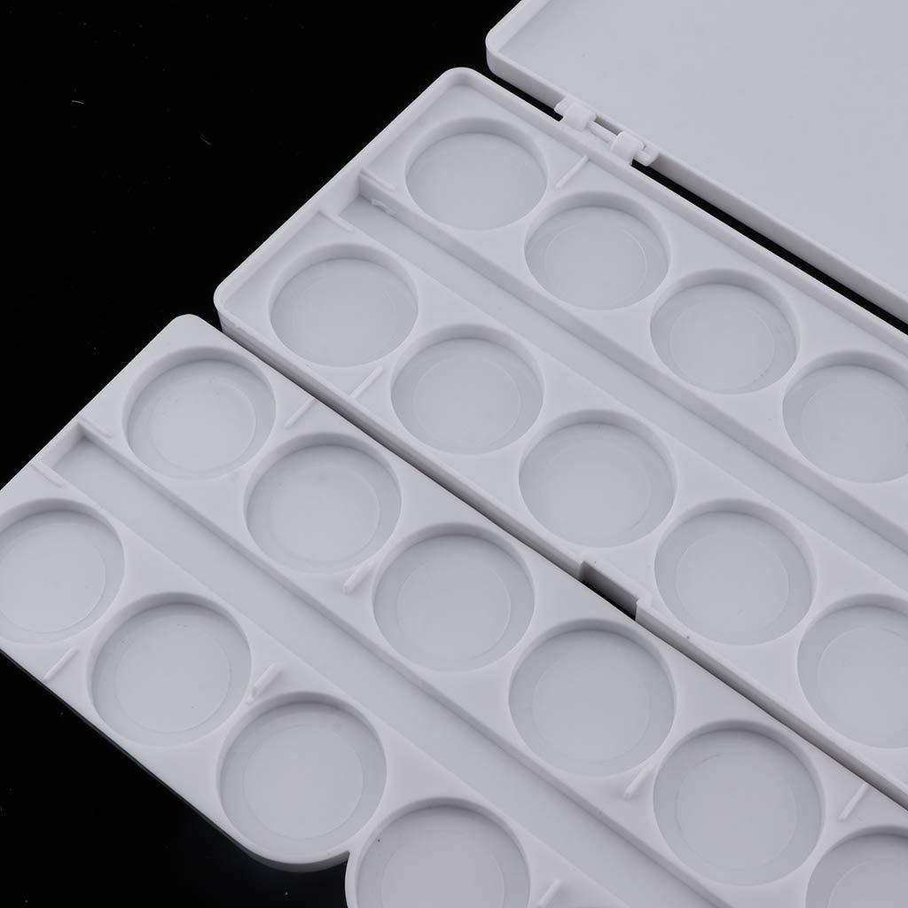 SM SunniMix Paleta Plegable De Pintura Al /óleo Con Tapa De Caja Negro 24 Compartimentos De Pl/ástico