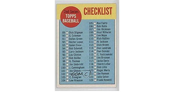 1963 Topps #102.1 Checklist 2nd Series No Black Border on Back Baseball Card