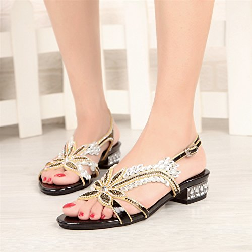 Women's Heel Low Rhinestone 33 with PU Color Flowered Size Summer A Flop Flip Shoes Flat Sandals XtAXqxrw