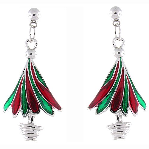 Red Green Enamel & Silver Plated Christmas Tree Drop Earrings