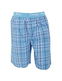 Cargo Bay Mens Woven Plaid Pattern Pyjama Shorts With Jacquard Waist