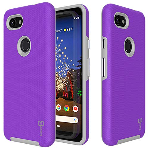 (Google Pixel 3a Case Purple CoverON Rugged Series - Hard Shockproof Protective Cover with Easy-Press Metalized Buttons for The Google Pixel 3a (2019))