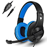 Greatever Stereo Gaming Headset for PS4 Xbox One, Professional 3.5mm Bass Over-Ear Headphones with Mic,Volume Control for Laptop, PC, Mac, iPad, Computer, Smartphones, Blue