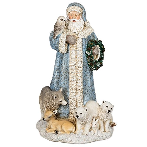 Powder Blue Santa Claus 16 inch Resin Stone Christmas Statue Figurine Decoration