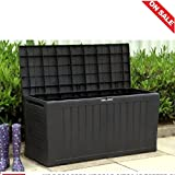 Outside Storage Box Plastic Large Garden Cube Outdoor External Lockable Square Garage Bike Utility Heavy Duty Rattan Furniture Bench Tool Weatherproof &E Book