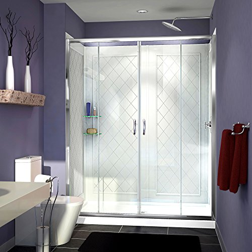 DreamLine Visions 34 in. D x 60 in. W Sliding Shower Door in Chrome with Left Drain White Acrylic Base and Backwall Kit, DL-6114L-01CL