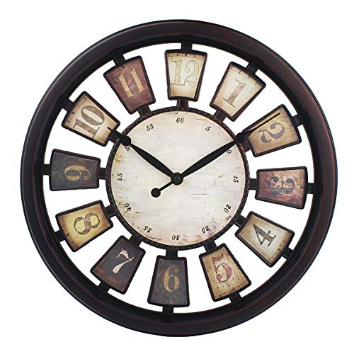 Farmstead Wall Clock Battery Operated Silent Sweep Movement Aged Clock 13 Inch Easy to Read ,Rust