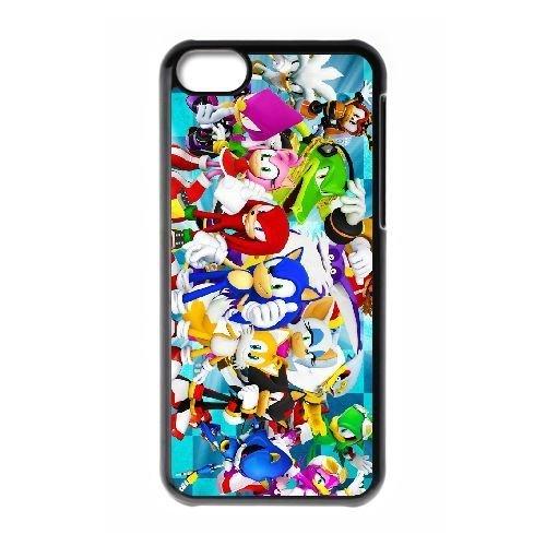 Goma duradera casos iPhone 5C celular negro Sonic el erizo ...