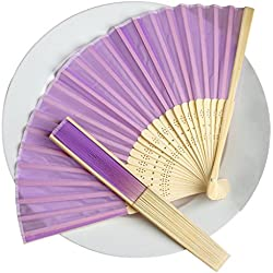 BalsaCircle 50 Lavender Decorative Silk Fabric Folding Handheld Hand Fans - Wedding Birthday Party Favors Decorations Supplies Bulk