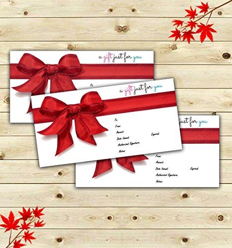 25 4x9 Linen Cute Blank Gift Certificate Cards For Business, Modern Restaurant, Spa, Beauty Makeup Hair Salon, Wedding, Bridal, Baby Shower