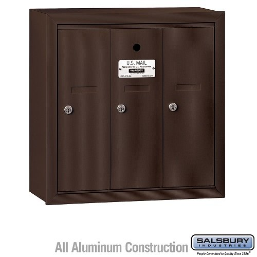 Salsbury Industries 3503ZSU Surface Mounted Vertical Mailbox with USPS Access and 3 Doors, Bronze by Salsbury Industries