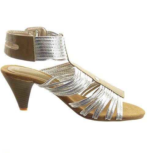 Sopily - Zapatillas de Moda Sandalias Tobillo mujer brillantes multi-correa tachonado Talón Tacón embudo alto 6.5 CM - Caqui