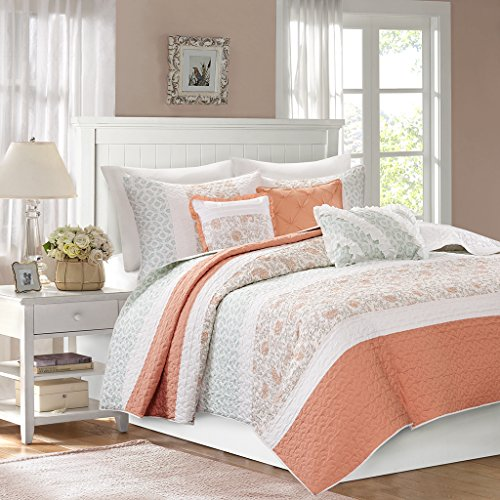 Madison Park MP13-2800 Dawn 6 Piece Cotton Percale Quilted Coverlet Set, Coral ()