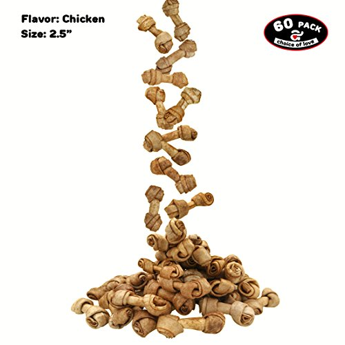 lavor 60-count Mini Bones Chew Dog Treat for Small Dog Toy Dogs Rawhide Healthy Dog Teeth (Mini Knotted Bones)