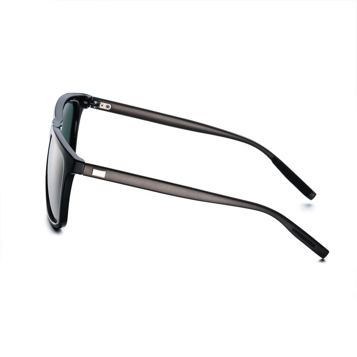 PenSee Rectangular Square Polarized Mirror Sunglasses for Mens Fashion