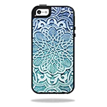 Mightyskins Protective Vinyl Skin Decal Cover for OtterBox Symmetry Apple iPhone 5/5s/SE Case wrap sticker skins Carved Blue