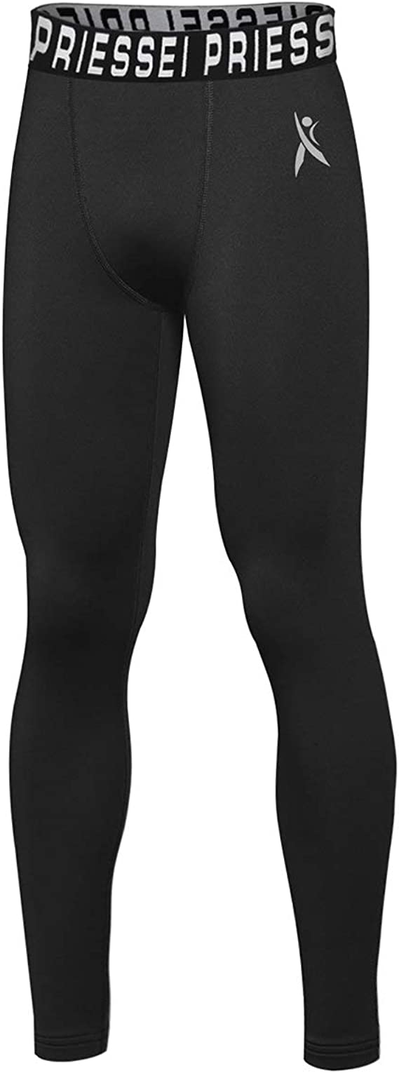 14-16 Grey, Youth Large PRIESSEI Youth Compression Pants Boys Leggings Sports Running Basketball Tights Base Layer Grey