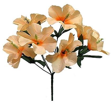 Amazon artificial garden 5 hibiscus peach silk flower floral artificial garden 5 hibiscus peach silk flower floral arrangements wedding flowers bridal bouquets centerpieces decoration mightylinksfo
