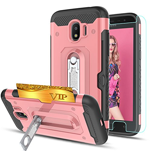 Galaxy J2 Pro 2018/J2 2018/Grand Prime Pro Case With HD Phone Screen Protector,Ymhxcy [Card Slots Wallet Holder] Rotating Bracket Dual Layer Shockproof Cover for Galaxy J2 Pro 2018-HM Rose Gold