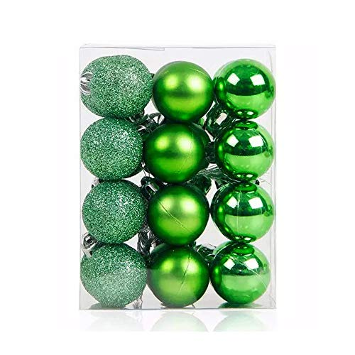 TangTanger Christmas Ball Assorted Pendant Shatterproof Ball Ornament Set Seasonal Holiday Wedding Party Decorations(24 pcs, 3 cm) (Green)