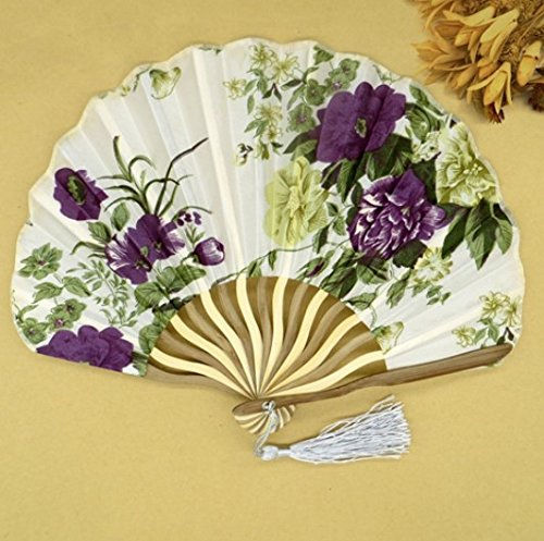 Beige 30Pcs/Lot Personalized Chinese Japanese Folding Hand Fan Fabric Floral Wedding Party Supplies by Hand Fan