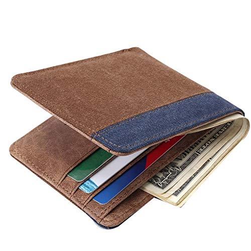 Miaomiaogo Men Boys Canvas Short Wallet Card Holder Case Patchwork Purse Hangbag Coin Holder Pouch Case