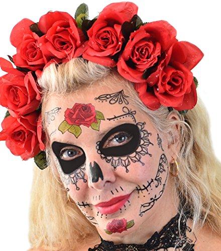 Black Lacey Web & Red Roses Sugar Skull
