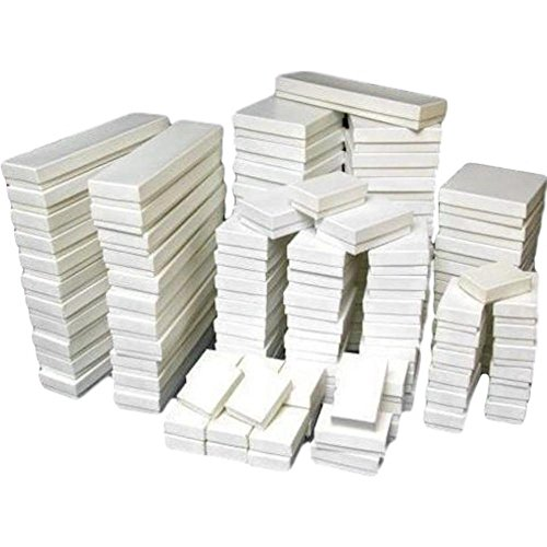 100 White Gloss Jewelry Display Cotton Filled Mixed Gift Box (Mixed Jewelry)