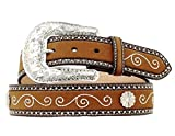 Nocona Women's Floral Concho Scroll Designs Belt, Medium Brown Distressed, M
