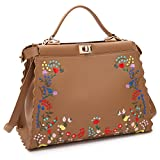 Dasein Womens Flower Embroidery Handbag Designer Floral Print Shoulder Bag Satchel Purse
