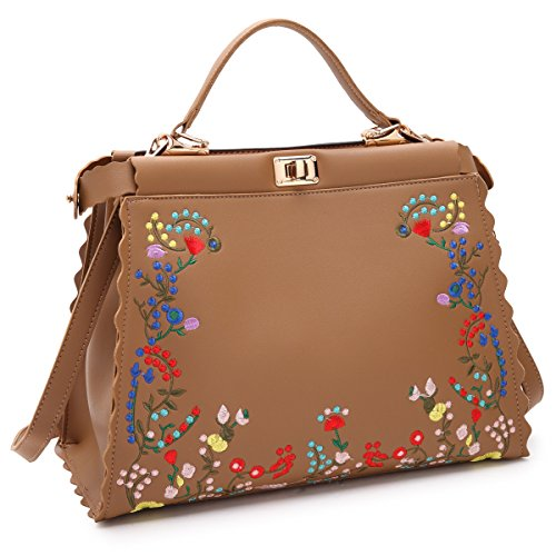 Dasein Womens Flower Embroidery Handbag Designer Floral Print Shoulder Bag Satchel Purse ()