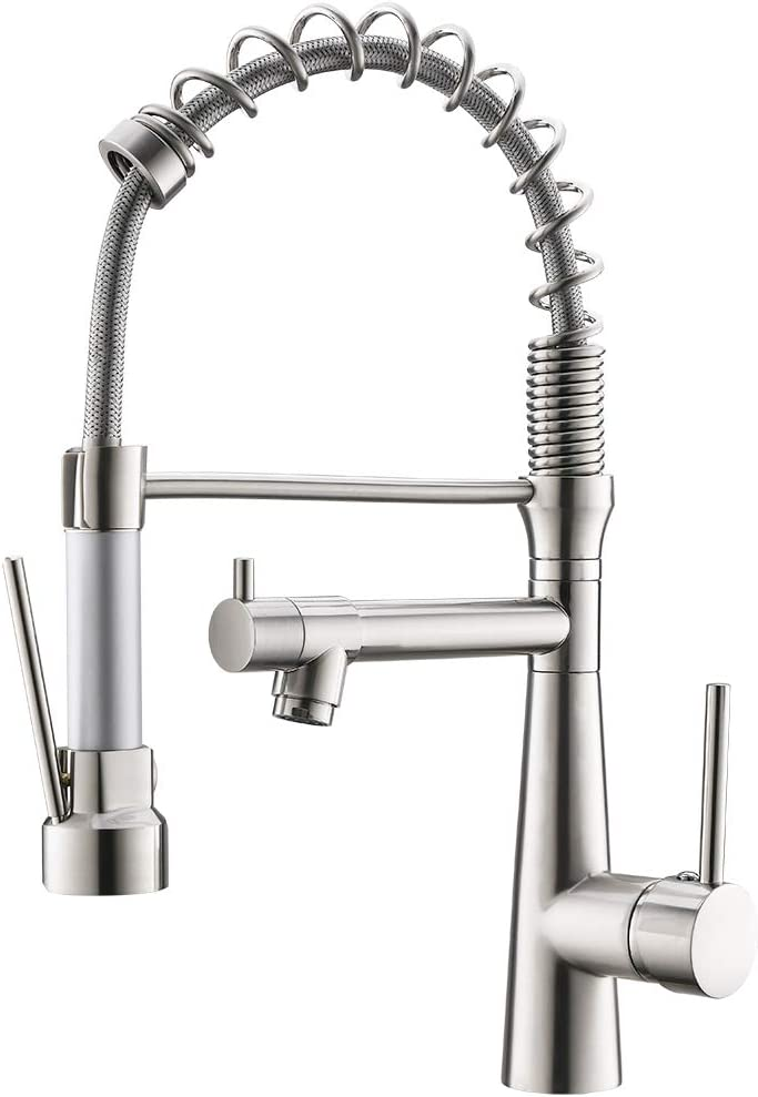 WANMAI Pull Down Kitchen Faucet, Heavy-Duty Durable Commercial Bar Sink Faucet, Water-Efficient and Drip-Free Performance Kitchen Sink Faucets with Pullout Sprayer, Brushed Nickel