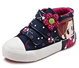 Bumud Kids GIrl's High-top Velcro Strap Canvas Sneaker(Toddler/Little Kid) (11 M US Little Kid, Deep Blue)
