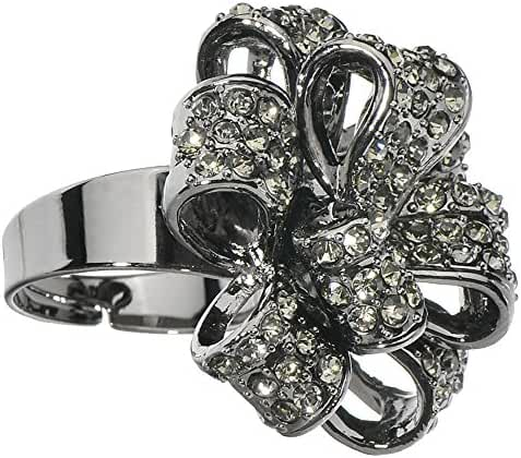 Black Sparkling Bow Adjustable Ring