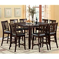247SHOPATHOME Idf-3336PT-9PC-Set Dining-Room, 9-Piece Set, Espresso