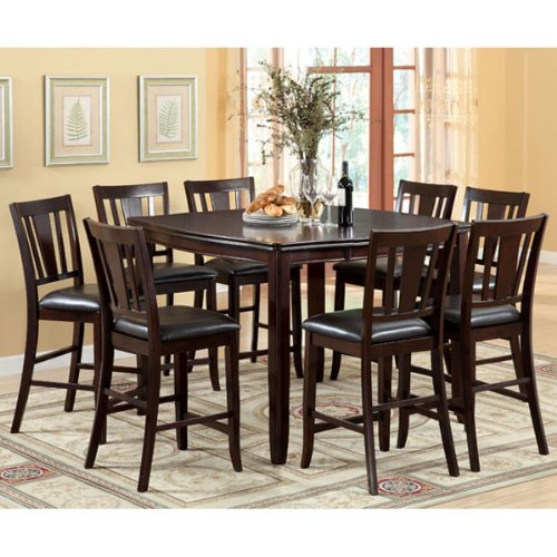 Ethan Espresso Finish Transitional Style 9 Piece Counter Height Dining Set
