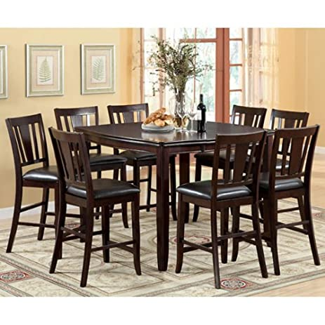 ethan espresso finish style 9piece counter height dining set